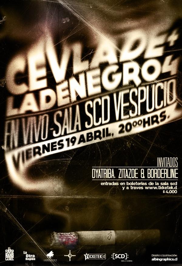 Gráfica Concierto Cevlade + Ladenegro4 Sala :[SCD]: by Félix Farías, via Behance