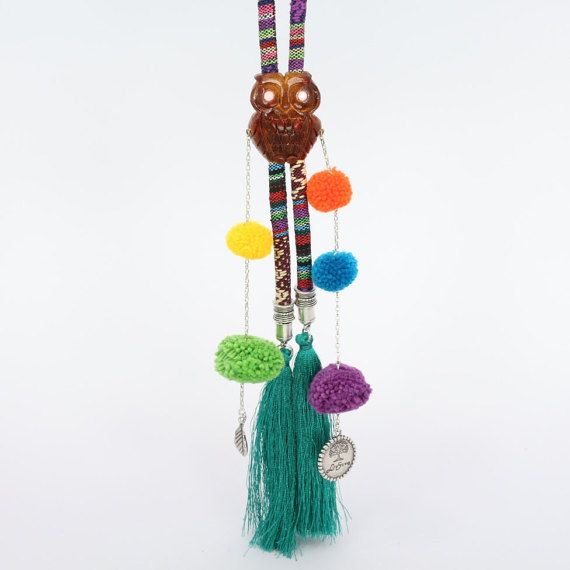 Pompom bolo tie hippie chic necklace wooden by CosmiziAvocado