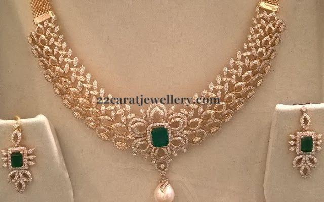 Jewellery Designs: 5 Lakhs Worth Diamond Set
