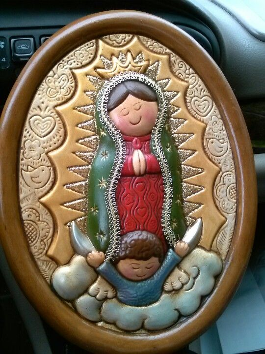 Handpainted virgen of guadalupe of ceramic... Visit crafty store in facebook
