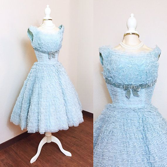 1950s Vintage Dress / 50s Prom Dress / Cupcake / by HighHatCouture