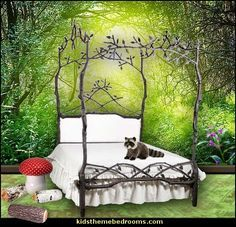 Enchanted Forest Queen Canopy Bed With Upholstered Headboard Love The  Bedstead Itself. Forest Theme BedroomsForest ...