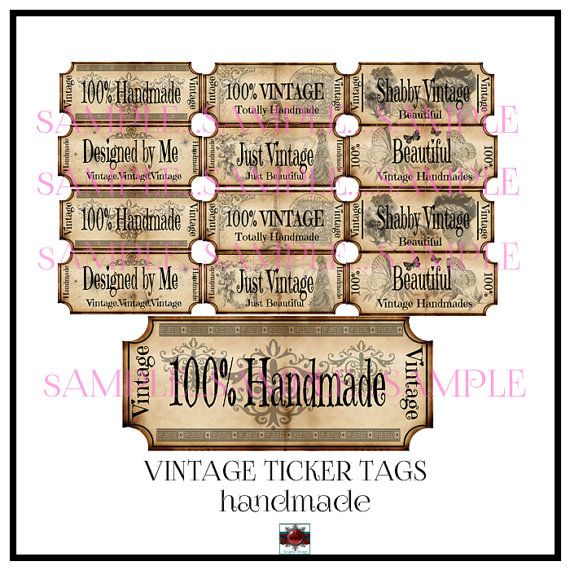Vintage HandmadeTicker Tags   Instant Download by Beauladigitals