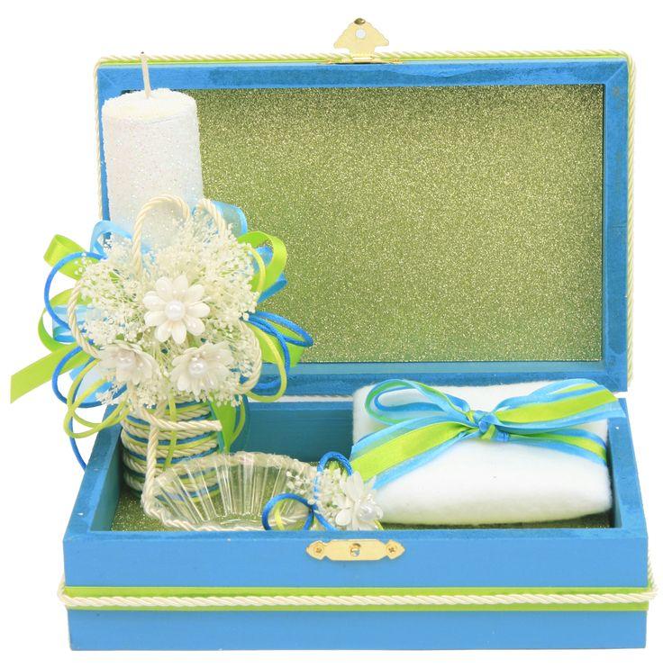 Caja de madera azul con vela para bautizo bautizo - Manualidades con cajas de madera ...