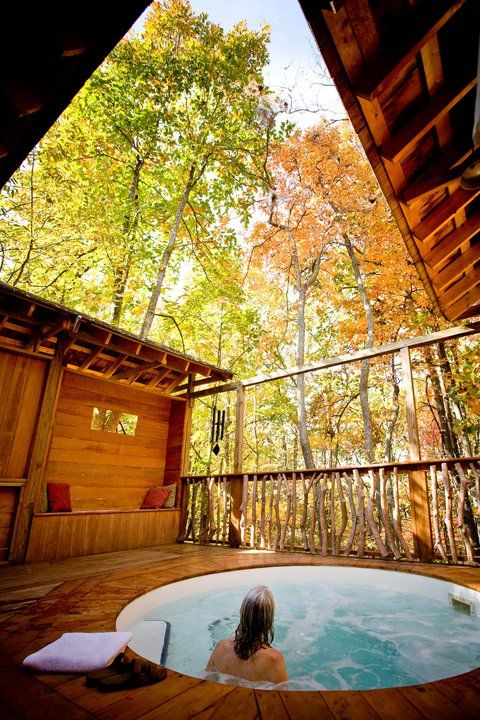 The Lodge at Shoji Spa offers private outdoor hot tubs. #FTW #Asheville