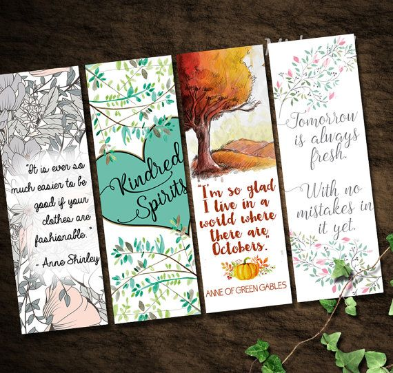 Anne of Green Gables Bookmarks | Instant Download Printable Set of 4 | A World Where we Have Octobers | Kindred Spirits | No Mistakes Yet