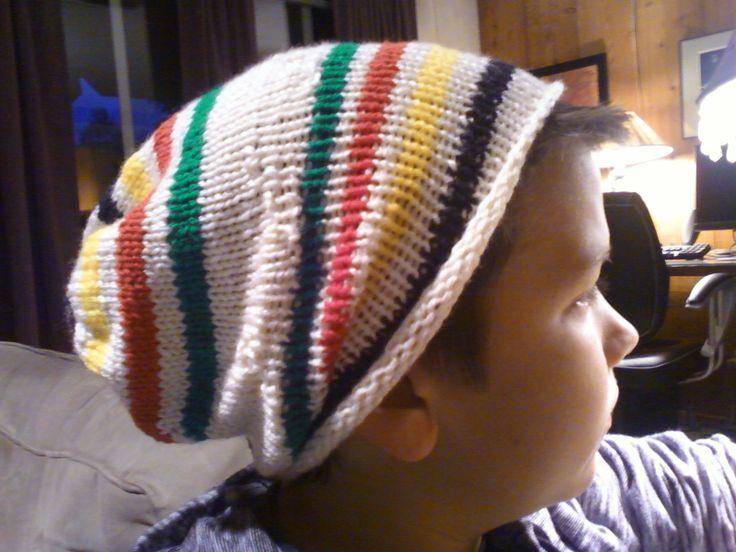 Slouchy beanie Hudson Bay blanket inspired