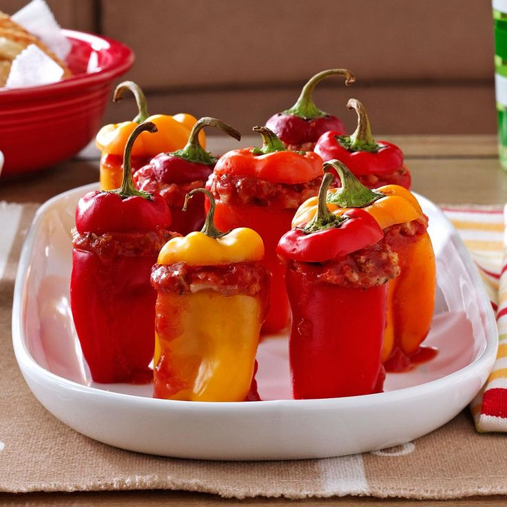 Game Day Miniature Peppers Recipe -My mom used to make the family stuffed peppers using ground meat and white rice. I changed it up to be healthier using ground turkey and brown rice. Your version may be with pork, beans, or the stuff that dreams are made of. —Rose Muccio, Lowell, Massachusetts