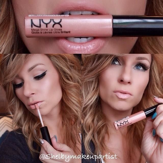 "One of my favorite lipglosses by @nyxcosmetics in ""sugar pie"" it's the perfect nude gloss . Brows by @anastasiabeverlyhills, also used her contour kit to contour. No shadow for me today just @maccosmetics pro long wear concealer topped with nyc transluce"