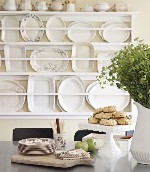 white ironstone on display: Dining Rooms, Country Cottages, Kitchens Wall, White Plates, Plates Racks, Country Living, French Country, White Dishes, Display Shelves