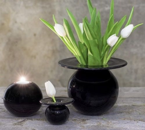 Boblen+vase+i+svart!+Design+av+Finn+Schjøll. 160mm