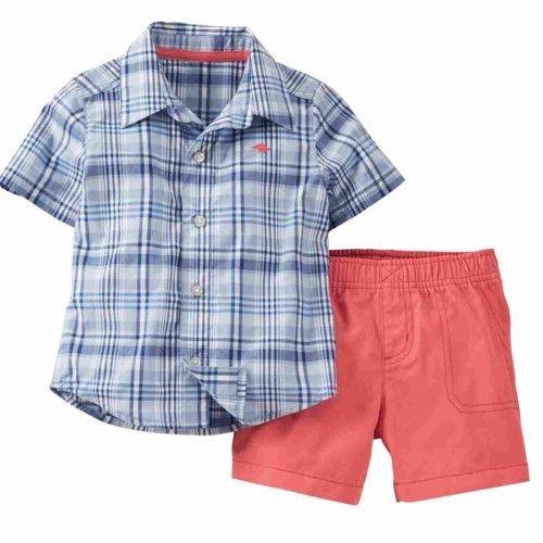 Carter's Infant Boys 2 Piece Blue Plaid Button Up T-Shirt & Coral Shorts 3m