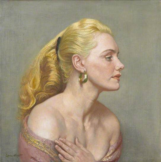"artmastered: "" Laura Knight, Joan Rhodes, 1955 Though this portrait does not indicate it, Joan Rhodes was actually a British stuntwoman, wrestler and strongwoman. Here, she looks more like a glamourous actress. This portrait, by Dame Laura Knight,..."