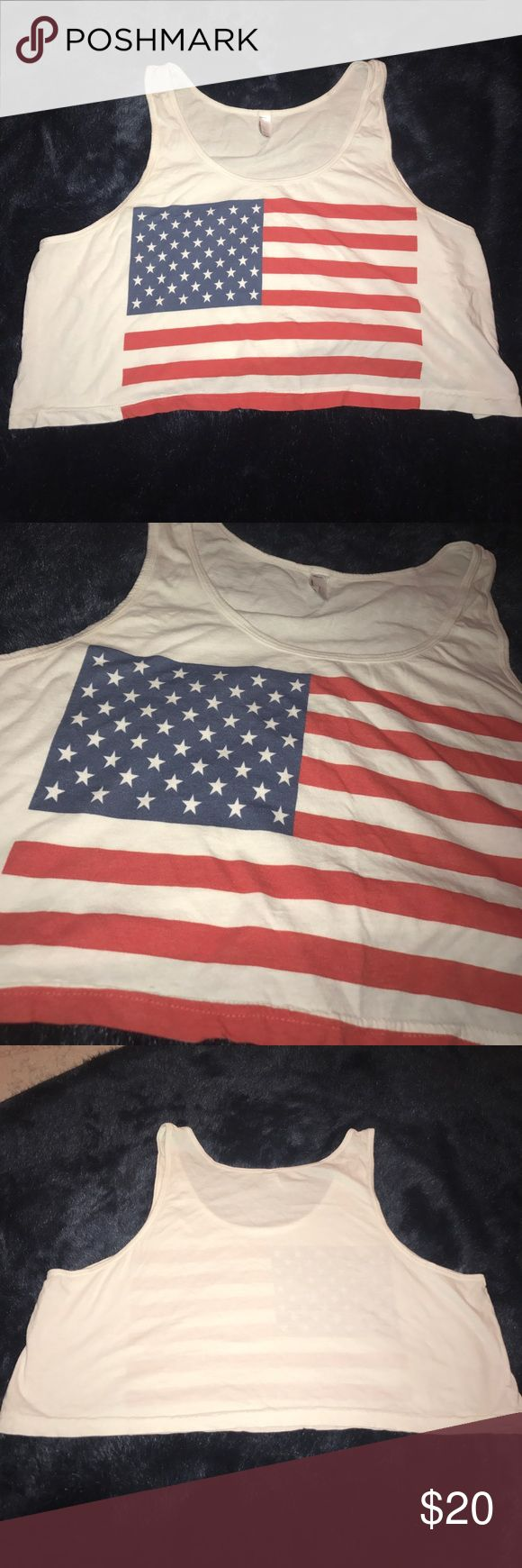 American apparel American flag crop top American Flag 🇺🇸 crop top form American Apparel. I know they are closing but this is a classic top. Wore it to Made In American Music Festival and that was the only time. Fits great and can be layered. It is a One size fits all. Am happy to post pictures wearing the item if you're interested. Shout with any questions. ⭐️ I don't remember the price. PERFECT FOR LABOR DAY. WILLING TO DROP PRICE. American Apparel Tops Crop Tops