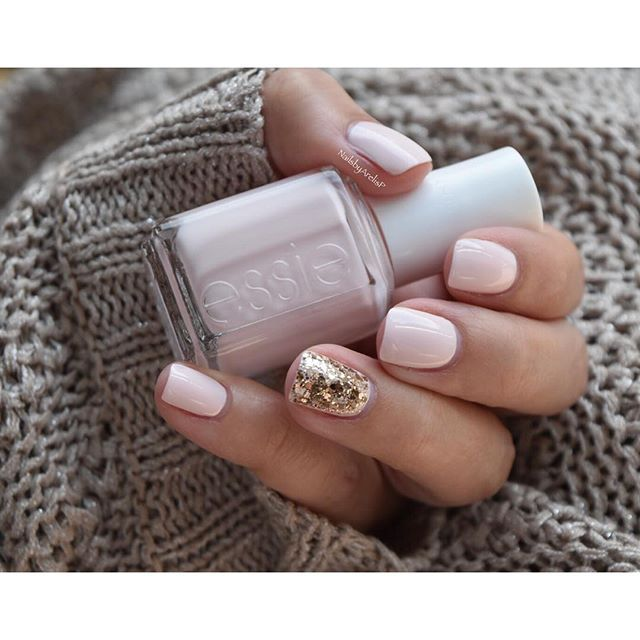 Base color is Essie Romper Room. The accent nail is Summit of Style & Rock To The Top (Luxeffects) by Essie