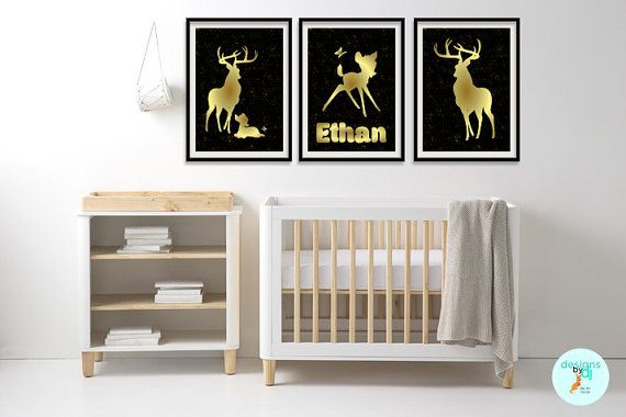 SALE Normally 31.95 - ENDS 30 November - Bambi Deer Gold Foil by DesignsByDjKidsArt