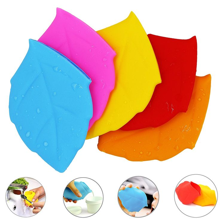 EMIDO Reusable Portable Travelling Outdoor Leaf Shaped Silicone Cup Pocket Water Cup Toothbrush Holder/Cover/Cap Bathroom Tumblers 5Pcs >>> See this great and useful item.