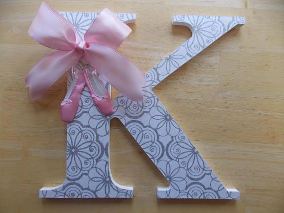 Bailarina letras Letras de color rosas y plata letras