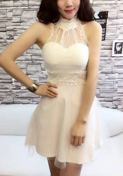 White Collar del remiendo del cordón de la granadina banda Tutu mini vestido