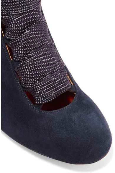 Chloé - Lace-up Suede Ankle Boots - Midnight blue