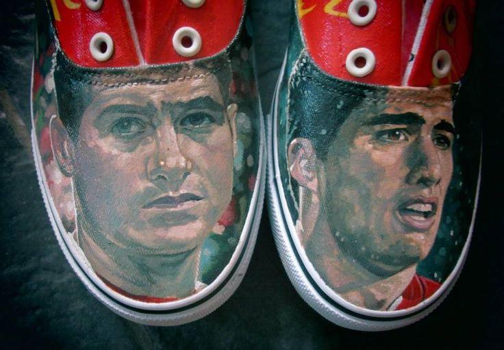 Liverpool Gerrard & Suarez hand-painted shoes