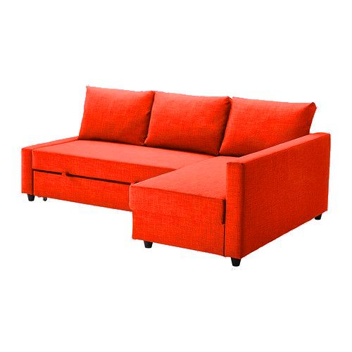 A bright orange sofa bed