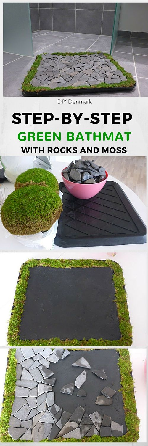 Make this really cool bathmat for your bathroom with (tile) rocks and moss. See other projects like this on the website. Click to see the tutorial