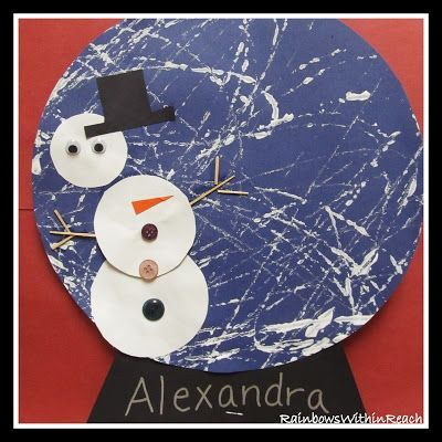winter crafts for toddlers- marbled snowman