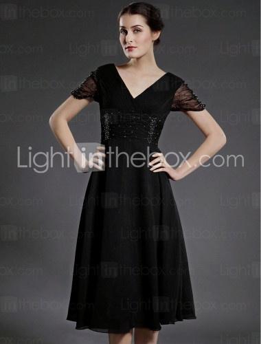 A-line V-neck Knee-length Chiffon Mother of the Bride Dress