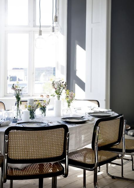 The Nordic way of dining | A private dinner with Nathalie Schwer: Dining Rooms Chairs, Breakfast Nooks, Grey Wall, Danishes Design, Dining Spaces, Photos Line, Colors Flowers, Gray Wall, Nathali Schwer