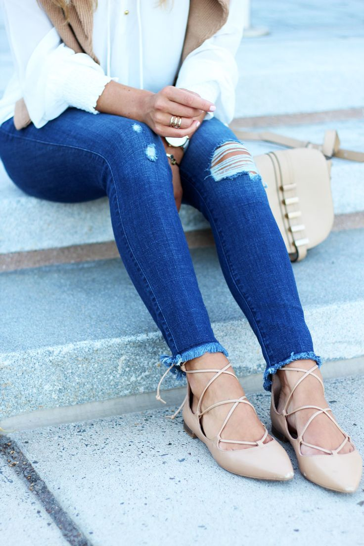 Ripped Denim + Lace Up Flats