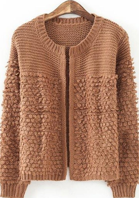 Coffee Patchwork Long Sleeve Knit Cardigan