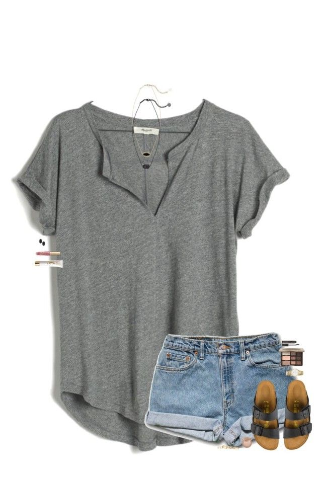 #summer #outfits / Grey V Tee + Denim