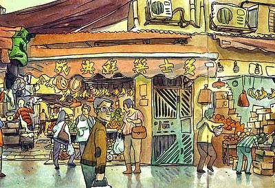 Travel sketchbook of Hong Kong during the world sketching tour. Mostly sketches done with watercolor on location. Author: Luis Simoes #watercolor #art #urbansketchers #Hongkong