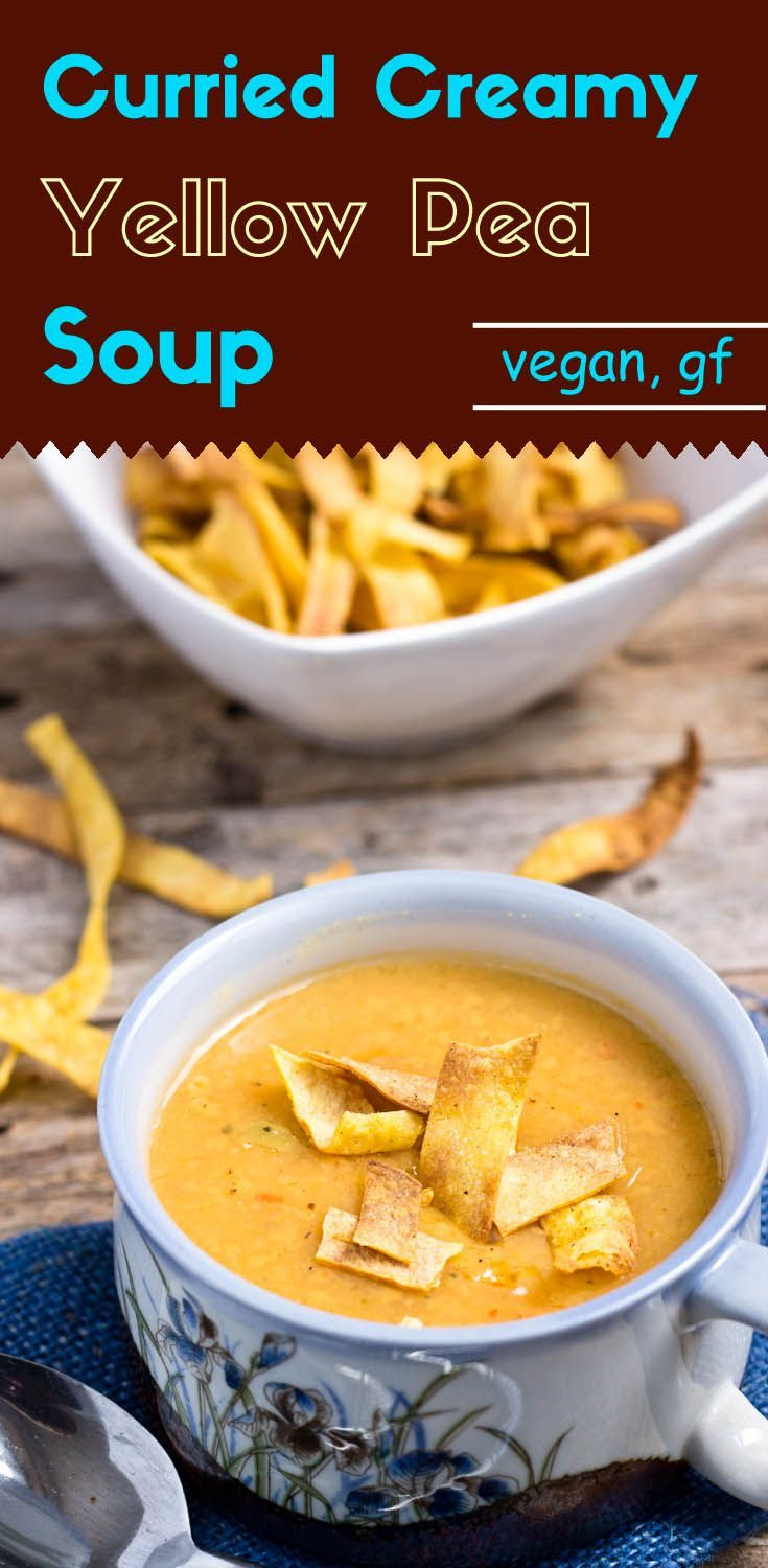 Adding some pan-roasted yellow curry powder and red chili powder gives this creamy and slightly sweet cream yellow pea soup a kick.