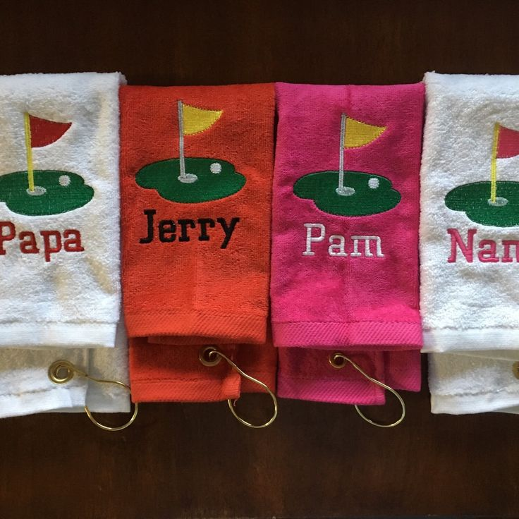 Personalized Golf towels make great Christmas gifts. Any colors with name included. www.personalizedembroidery4u.com This is my second Etsy shop.