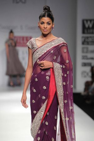 Purple & Silver Saree By Swapan and Seema