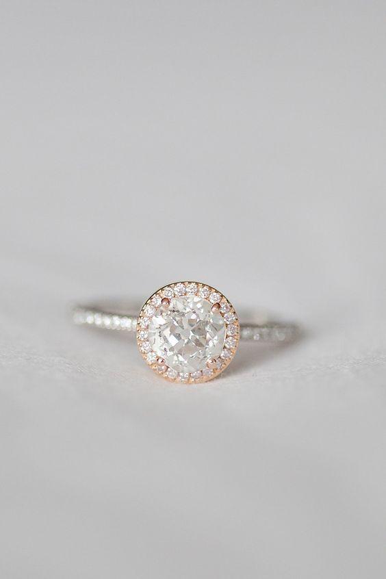 Gemini rose gold halo engagement ring / www.deerpearlflow...