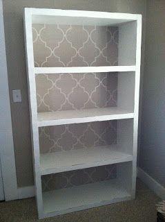 DIY Bookshelf Makeover // Ikea Hack // Billy Bookcase // Lined Bookshelf // Spanish Tile {Featured 5/17 at www.useyourwordslittlegirl.com}