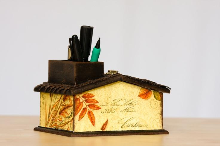 TEACHER GIFT, Wooden Pencil Holder, Cottage Chic Unusual Desk Accessory, Brown & beige Farmhouse Desk Organizer, Kids, Home office, oht. $33.00, via Etsy.
