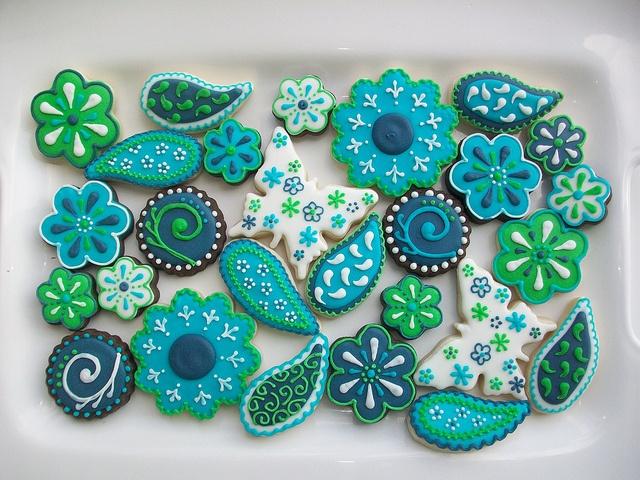 galletas verde y azul
