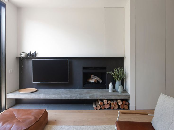 Fireplace Living space ideas featuring Heatmaster Australia Open Wood Fireplace