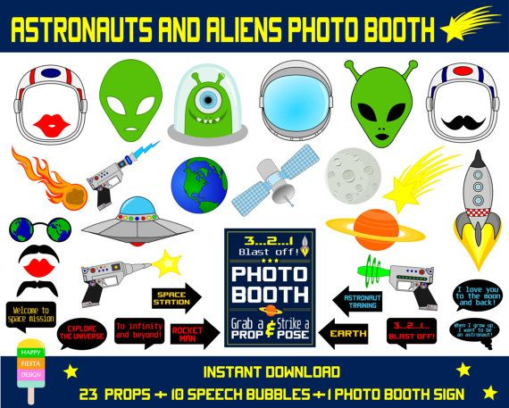 Astronauts & Aliens Photo Booth Props–34 Pieces (23 props,10 talk bubbles,1 photo booth sign)-Rocket Man,Aliens,Outer Space-Instant Download