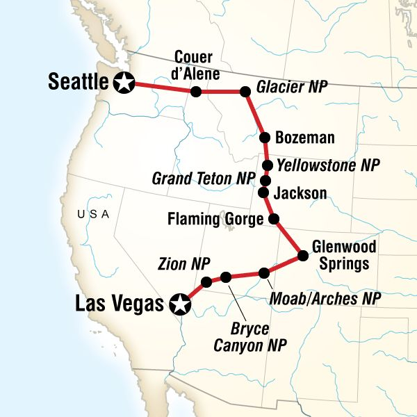 Map of the route for Northwest National Parks Road…
