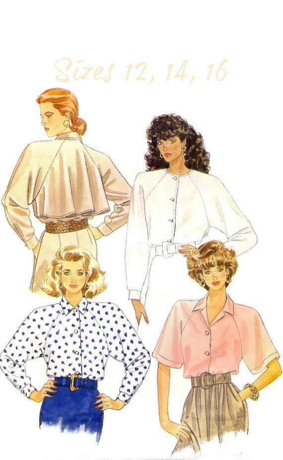 Uncut 80s Misses' Blouse Sewing Pattern  1988 by KeepsakesStudio