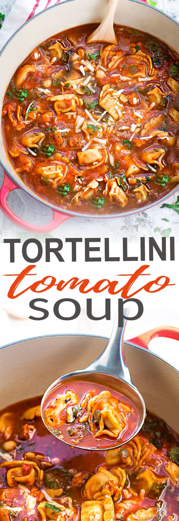This delicious recipe for Italian Sausage Tortellini Tomato Soup is the perfect comforting soup for busy weeknights! Best of all, it's so easy to make and packed with with the most amazing flavors. Made with cheese tortellini, Italian sausage, arugula and tomatoes. Hearty, filling and easy to customize with your favorite greens or vegetables for a nutritious lunch or dinner.