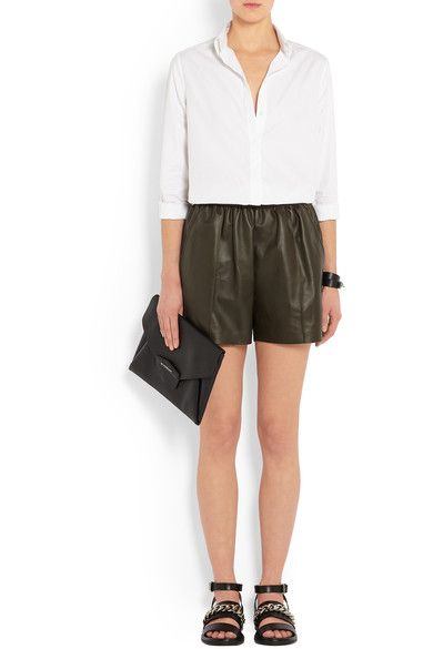 Givenchy - Shorts In Army-green Leather - Army green - FR40
