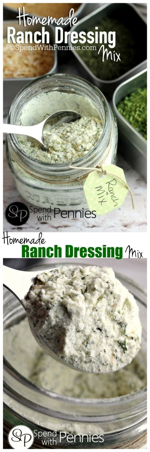 A delicious Homemade Ranch Dressing Mix.  Simple to make, contains no MSG and is perfect in dressings and dips or to replace mix packets!