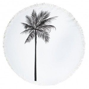 Black Palm Round Beach Towel