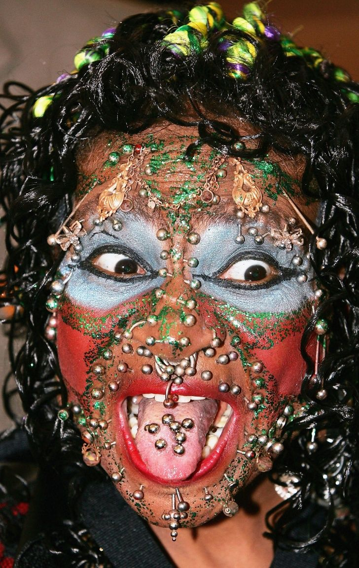 elaine davidson the most pierced woman attends the guinness world records anniversary party at the royal opera house on november 2004 in london